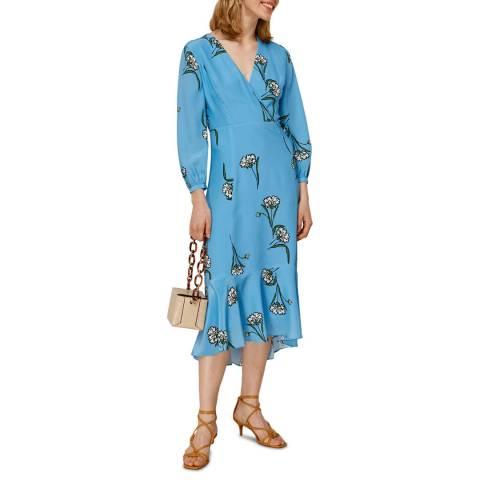 WHISTLES Blue Sprig Flower Silk Dress