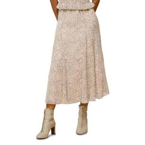 WHISTLES Blush Sketched Floral Skirt