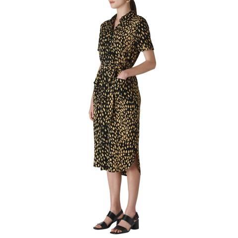 WHISTLES Black Animal Print Montana Dress