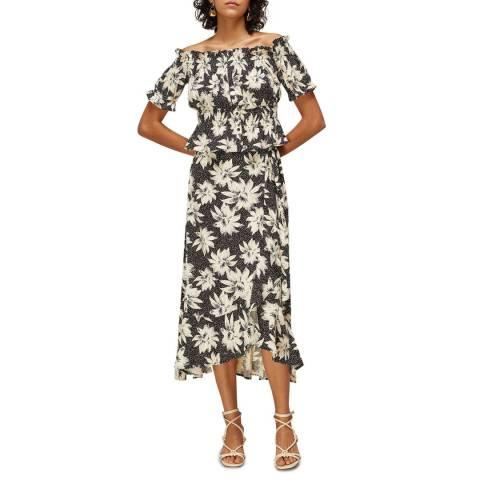 WHISTLES Black/White Starburst Floral Wrap Skirt