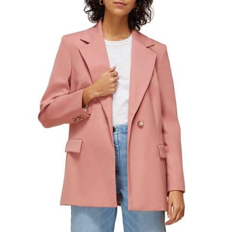 WHISTLES Pink Sana Wool Blend Blazer