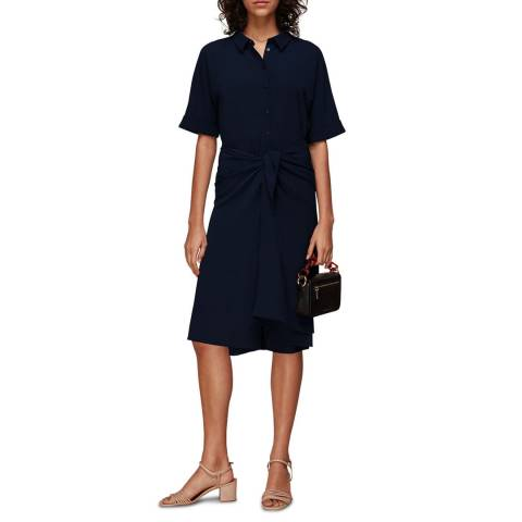 WHISTLES Navy Dolly Tie Front Dress
