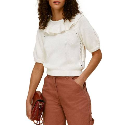 WHISTLES White Frill Neck Knit Top