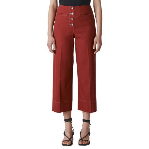 WHISTLES Rust Heidi Button Wide Stretch Trousers