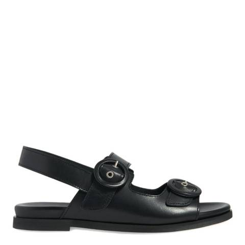 WHISTLES Black Marcie Buckle Leather Sandals