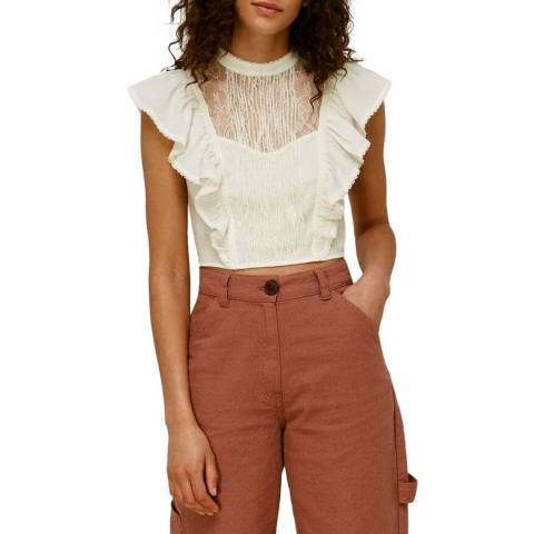WHISTLES Ivory Mixed Lace Frill Cotton Top