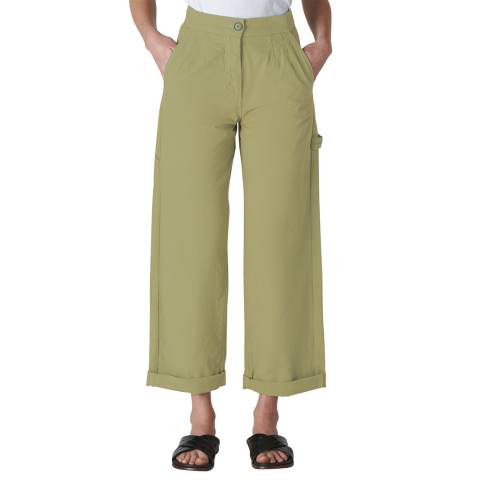 WHISTLES Pale Green Cameron Cotton Trousers