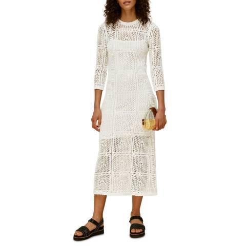 WHISTLES White Crochet Knit Cotton Midi Dress