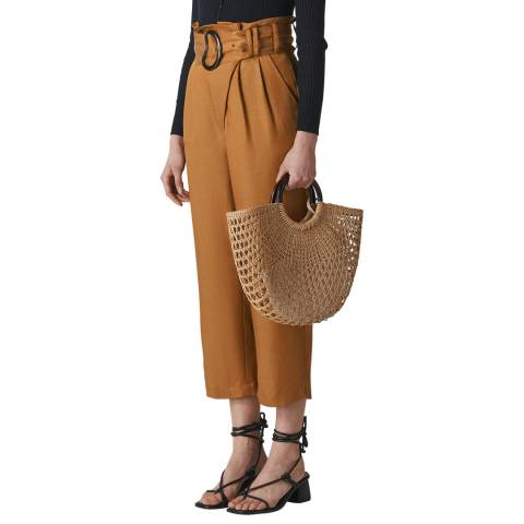 WHISTLES Camel Amelie Paper Bag Trousers