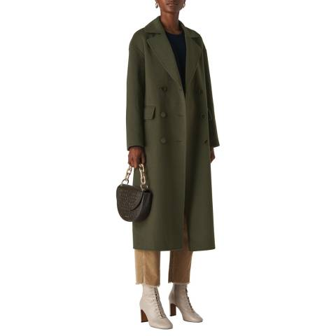 WHISTLES Khaki Rosie Wool Blend Coat