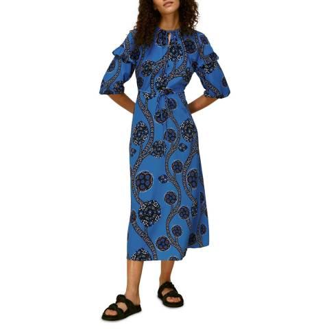 WHISTLES Blue Trailing Seedpod Silk Dress