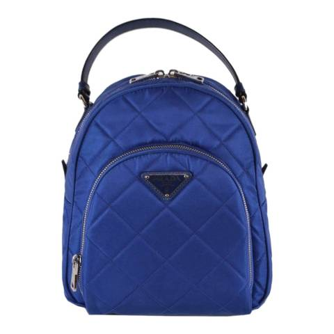 Prada Blue Quilted Nylon Backpack