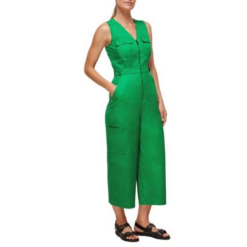 WHISTLES Green Nettie Utility Cotton Jumpsuit