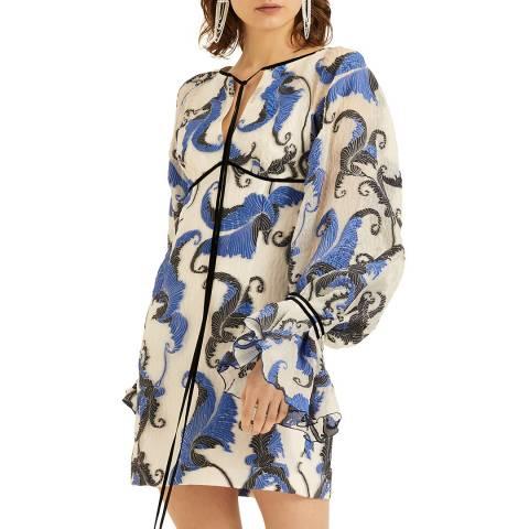 Amanda Wakeley Blue Cloque Jacquard Mini Dress