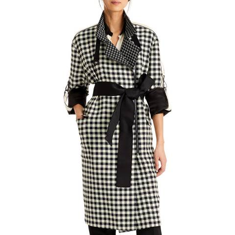 Amanda Wakeley Ecru/Black Check Tailoring Trench Coat