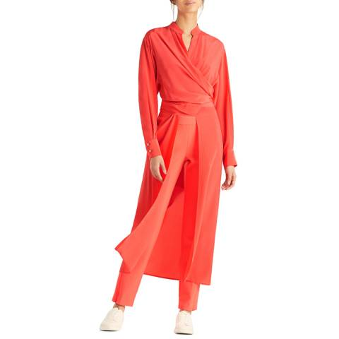 Amanda Wakeley Coral Air Tie Wrap Silk Top