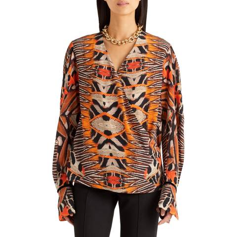 Amanda Wakeley Orange Moth Print Silk Top