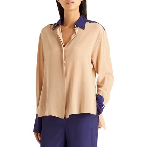 Amanda Wakeley Camel/Indigo Silk Boyfriend Shirt