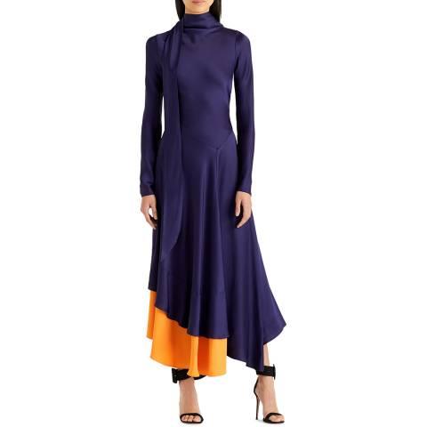 Amanda Wakeley Indigo Bias Satin Midi Dress