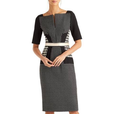 Amanda Wakeley Black/Ecru Check Shift Dress
