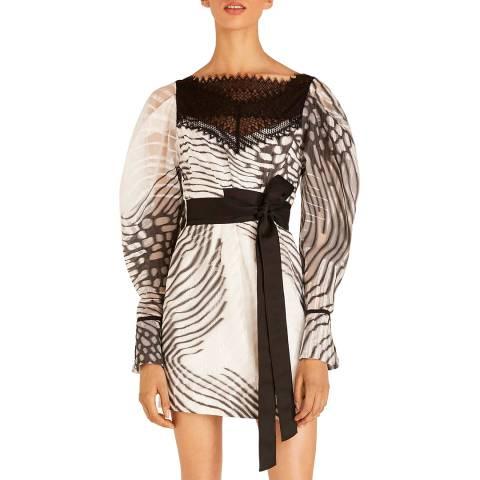 Amanda Wakeley Ecru/Black Moth Jacquard Mini Dress
