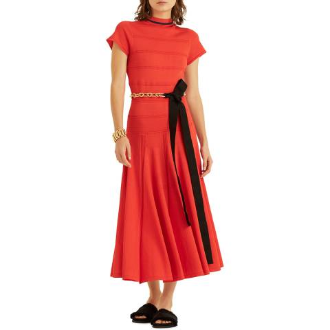 Amanda Wakeley Orange Viscose Knitted Midi Dress