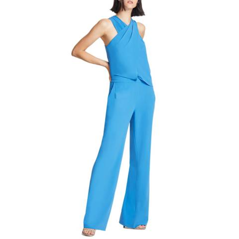 Halston Heritage Blue Wrap Neck Jumpsuit