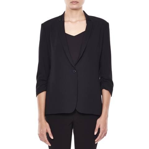 Halston Heritage Black Ruched 3/4 Sleeve Suiting Blazer