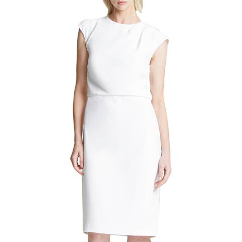 Halston Heritage White Drape Neck Crepe Dress