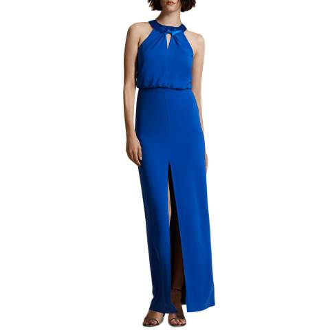 Halston Heritage Blue Satin Neck Crepe Dress