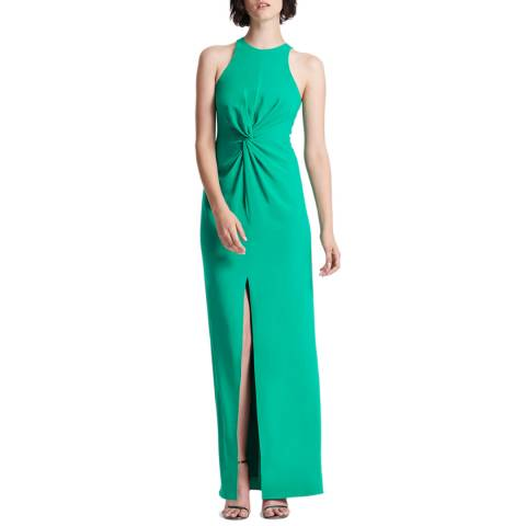 Halston Heritage Green Twist Drape Detail Crepe Dress