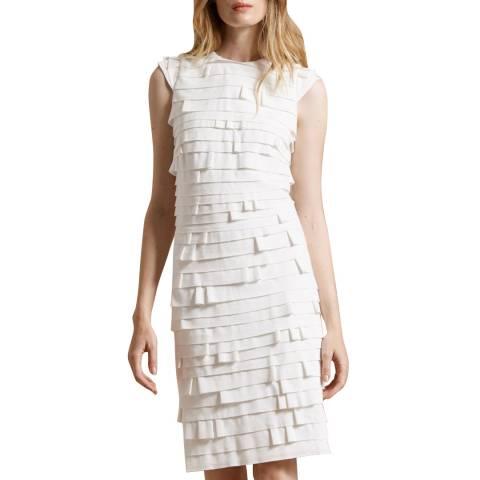 Halston Heritage Chalk Strip Detail Ponte Knit Dress