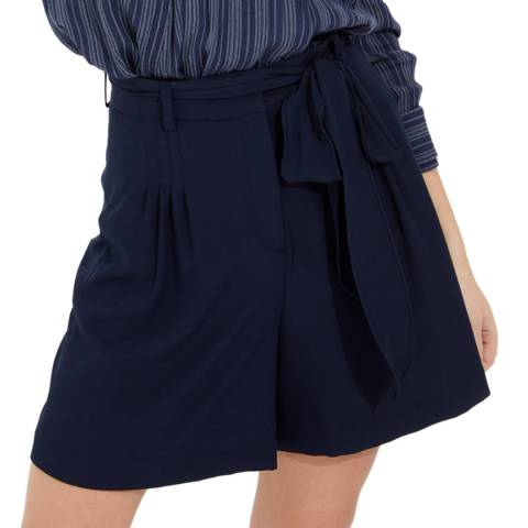 Halston Heritage Navy High Waisted Flowy Twill Shorts