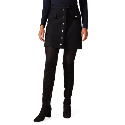 Phase Eight Navy Tweed Button Skirt