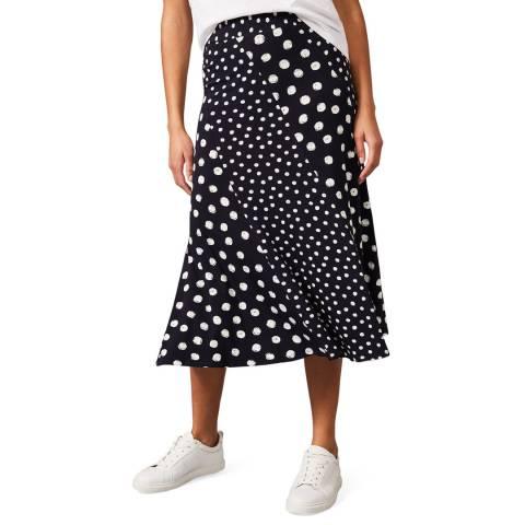 Phase Eight Navy Denia Spot Skirt