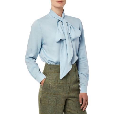 Purdey Ladies Blue Tencel Pussybow Shirt