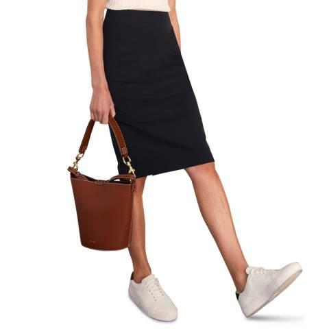 Jigsaw Navy Paris Panelled Wool Blend Skirt