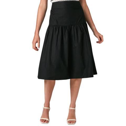 Jigsaw Black Poplin Gathered Midi Skirt
