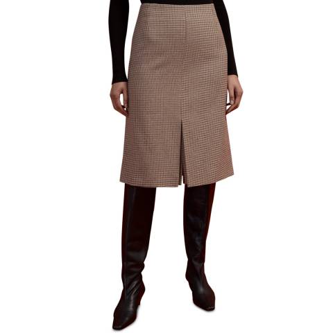 Jigsaw Brown Puppytooth Wool Blend Skirt