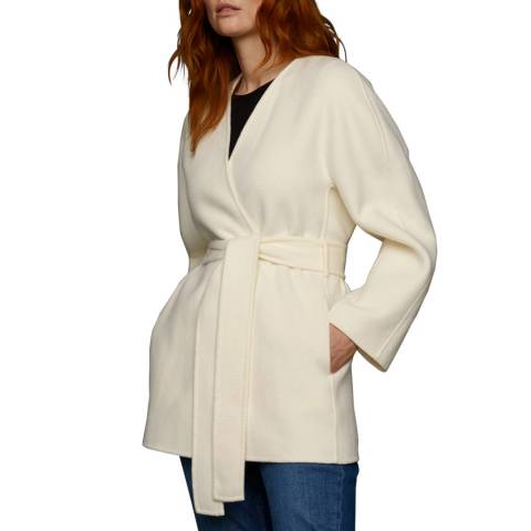 Jigsaw Ivory Wrap Wool Blend Coat