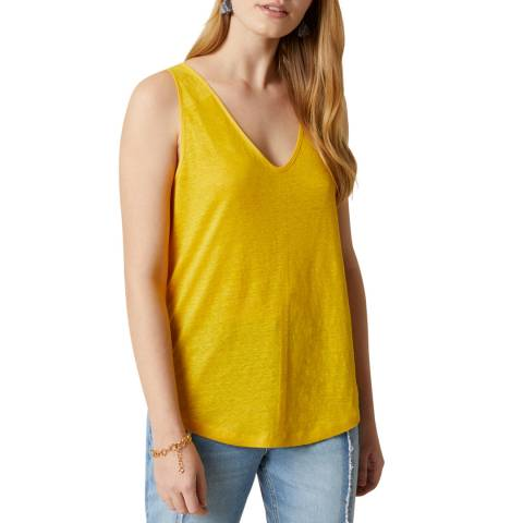 Jigsaw Yellow Linen V Vest Top