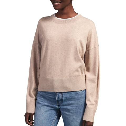 Jigsaw Taupe Soft Viscose Tapered Jumper