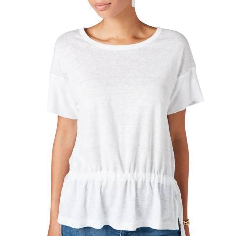 Jigsaw White Drawstring Linen T-Shirt