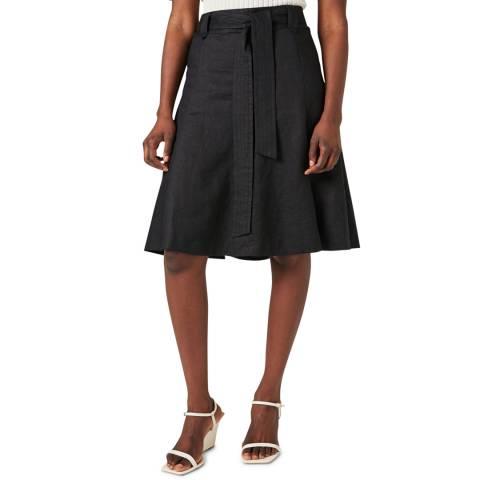 Jigsaw Black Linen Belted Skirt