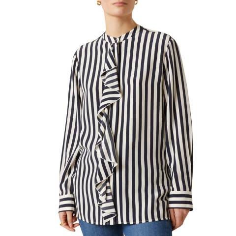 Jigsaw Navy Sailor Stripe Ruffle Shirt