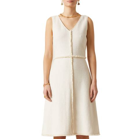 Jigsaw Cream Basket Tweed Dress