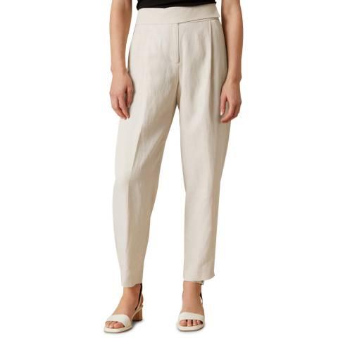 Jigsaw White Mini Cavalry Linen Trousers