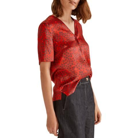 Jigsaw Red Star Daisy Silk Top