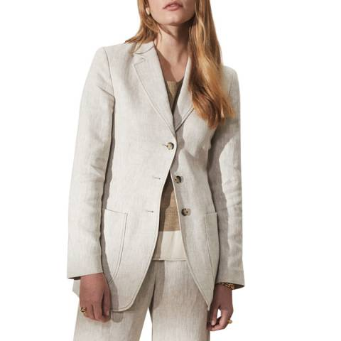 Jigsaw Beige Linen 3 Button Jacket