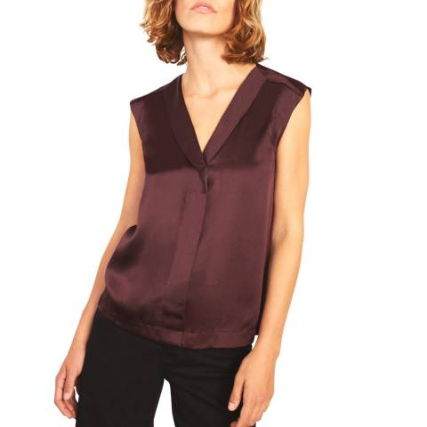 Jigsaw Deep Red Silk Front Shirt